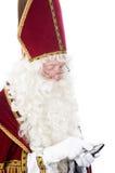 Sinterklaas com um telefone móvel imagens de stock royalty free