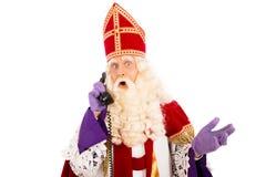 Sinterklaas con el teléfono Fotos de archivo libres de regalías
