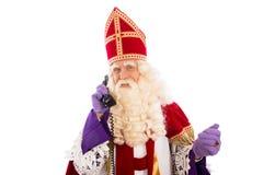 Sinterklaas con el teléfono Foto de archivo libre de regalías