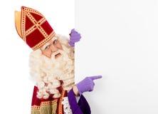 Sinterklaas con il cartello Fotografia Stock Libera da Diritti