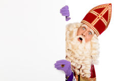 Sinterklaas con il cartello Fotografie Stock