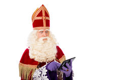 Sinterklaas con la tableta Foto de archivo