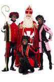 Sinterklaas and a couple of his helpers Stock Photos