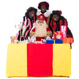 Sinterklaas and a couple of his helpers Stock Photography