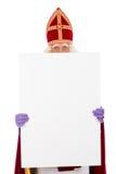 Sinterklaas, das Plakat hält Stockfotografie
