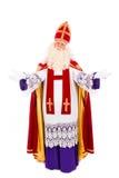Sinterklaas die zich op witte achtergrond bevinden Royalty-vrije Stock Foto