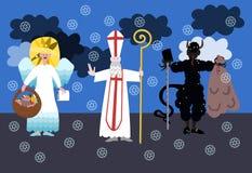 Sinterklaas, duivel en engel - Tsjechische Kerstmistraditie Stock Afbeelding