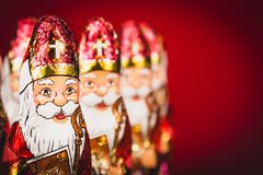 Free Sinterklaas . Dutch Chocolate Figures Of Saint Nicholas In A Row Royalty Free Stock Image - 125821236