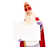 Sinterklaas with empty card Royalty Free Stock Photography
