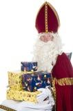 Sinterklaas en stelt voor royalty-vrije stock afbeelding