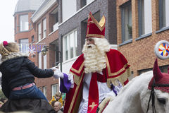 Sinterklaas en van Zwarte Piet het aankomen Stock Afbeelding