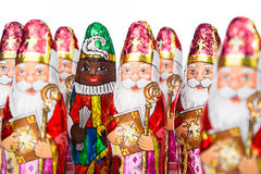 Sinterklaas en Zwarte Piet. Dutch chocolate figure Royalty Free Stock Image