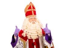 Sinterklaas felice su fondo bianco Immagini Stock
