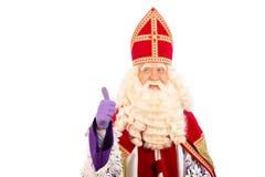 Sinterklaas feliz en el fondo blanco Foto de archivo libre de regalías