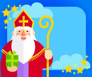 Sinterklaas flat design. Flat illustration of Sinterklaas with copy space Stock Photography