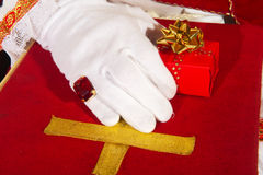 Sinterklaas with a gift Royalty Free Stock Photography