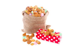 Sinterklaas gingernuts candy and a gift Royalty Free Stock Images