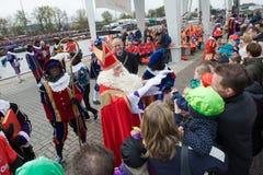 Sinterklaas greeting the children Stock Images