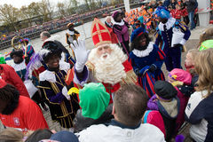 Sinterklaas greeting the children Royalty Free Stock Photography