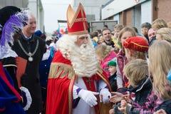 Sinterklaas greeting the children Stock Photography