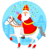 Sinterklaas on his horse. Cartoon Sinterklaas or St. Nicholas riding his horse royalty free illustration
