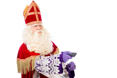 Sinterklaas holding remote on white background Stock Photography