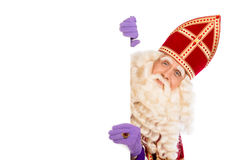 Sinterklaas isolated on withe. Smiling Sinterklaas with white board. isolated on white background. Dutch character of Santa Claus Royalty Free Stock Photography