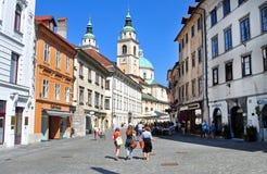 Sinterklaas-kathedraal, Ljubljana, Slovenië Stock Foto's