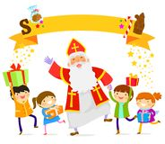 Sinterklaas and kids. Sinterklaas dancing with happy children Stock Photo
