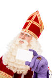 Sinterklaas med affärskortet på vit bakgrund Arkivfoto