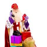 Sinterklaas med telefonen Royaltyfri Fotografi