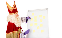 Sinterklaas med tom whiteboard Royaltyfri Bild