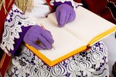 Sinterklaas met leeg boek Stock Afbeeldingen
