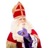 Sinterklaas mit dem Zeigen des Fingers Stockbild
