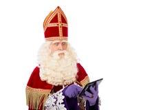 Sinterklaas mit Tablette Stockfoto