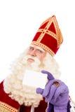 Sinterklaas mit Visitenkarte auf weißem Hintergrund Stockfoto
