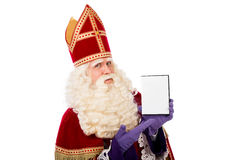 Sinterklaas montrant la boîte vide de DVD images stock