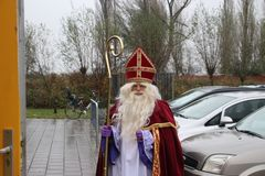 Sinterklaas in the Netherlands, dutch traditional celebration. Like Santa Claus with a lot of discussion about helper Black Pete for rascism and blackface while royalty free stock photography