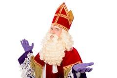 Sinterklaas no fundo branco com os braços largos Foto de Stock Royalty Free