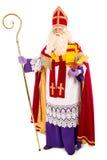 Sinterklaas no fundo branco Comprimento completo fotografia de stock royalty free