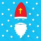 Sinterklaas op blauwe achtergrond met punten als sneeuwvlok en schaduw De kaart van de groet Vlakke ontwerp vectorillustratie stock fotografie