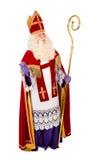 Sinterklaas op witte achtergrond Volledige lengte Stock Foto