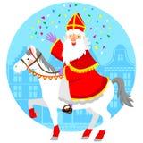 Sinterklaas op zijn paard Stock Foto's