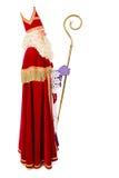 Sinterklaas på vit bakgrund Full längd Fotografering för Bildbyråer