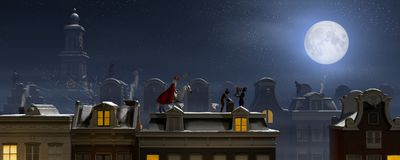 Sinterklaas and the Pieten on the rooftops at night. A scene for the traditional Dutch holiday `Sinterklaas`, 3d render Stock Photos