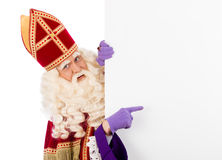 Sinterklaas with placard Royalty Free Stock Photo