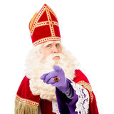 Sinterklaas with pointing finger. Isolated on white background. Dutch character of Santa Claus Stock Image