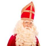 Sinterklaas portratit op witte achtergrond Stock Fotografie
