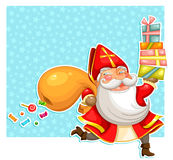 Sinterklaas with presents. Cartoon Sinterklaas (st. Nicholas) carrying presents over starry background Stock Photography