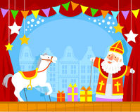 Sinterklaas puppets. Puppet show with Sinterklaas and his white horse Stock Photography